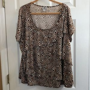 EUC Worthington animal print layered top